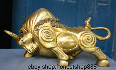 "18"" Folk Chinese Brass Zodiac Year Bull Oxen Coin Yuanbao Money Statue Sculpture"