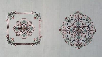 Pair Finished Handmade CrossStitch Needlepoint Geometric Design Unframe Complete