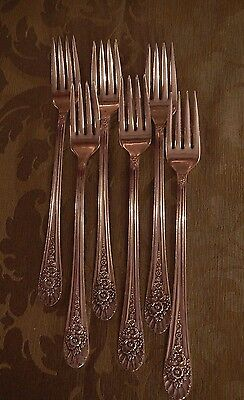 Jubilee Wm Rogers Silverplate Flatware set of 6 luncheon grille forks EXCELLENT