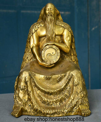 "11"" Chinese Taoism Brass Seat Patriarch Fu Xi Hold Eight Diagrams Buddha Statue"