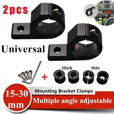 2x 15-30mm Bullbar Pipe Mount Bracket Clamps LED Work Light Bar + 2 set liners A