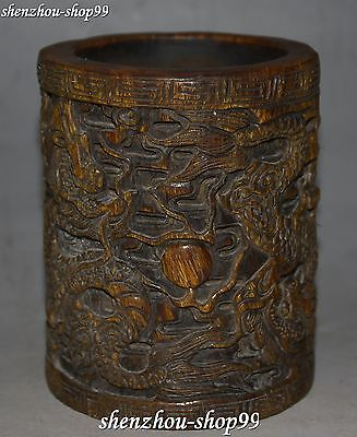Marked Chinese Ox Horn Carved Dragon Loong Pen Holder Brush Pot Case Vase Statue
