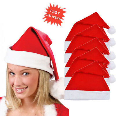 5 X Adult Red Felt Santa Hats Christmas Santa Claus Party Hats Xmas Fancy Dress