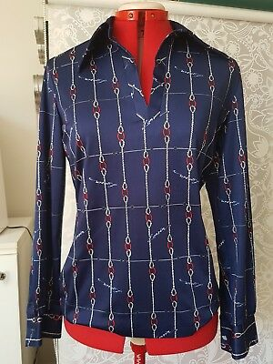 Lanvin 1970s navy red white nautical blouse / nautical rope print / sz m