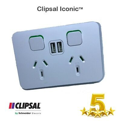 Clipsal 10 Amp ICONIC Double Switched Internal Powerpoint With Twin 2.1 Amp USB