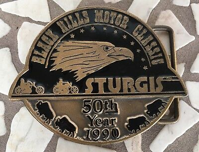 Vtg Black Hills Motor Classic 50th Belt Buckle Sturgis Harley Davidson Rally