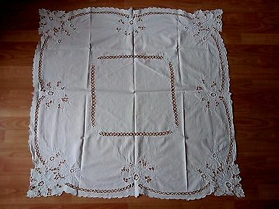 Antique Vintage Madeira Style White Square Tablecloth Cutwork Embroidery, 39""