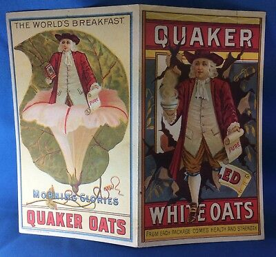 1880s Antique Morning Glories QUAKER OATS CEREAL Victorian Advertisng Trade Card
