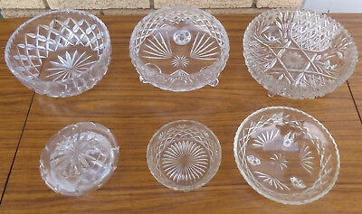 6 X Cut Glass Crystal Bowls.  No Cracks, Very Old.  Collectible