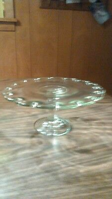 Vintage Indiana clear Glass Teardrop Cake Stand