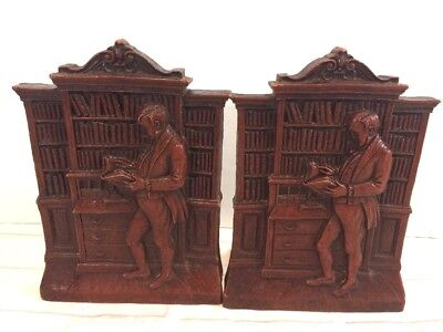 Vintage Bookends Man / Scholar Reading Book Library Wood Carved