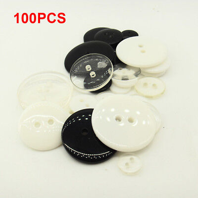 100Pcs DIY 2 Holes Round Resin Buttons Scrapbooking Sewing Craft 11.5/15/20mm