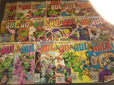The Incredible Hulk comic book lot 19 issues (Marvel,1980s) BRONZE AGE