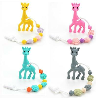 Giraffe Silicone Teething Pacifier Baby Soother Chain Beads Bpa Free Teether Toy