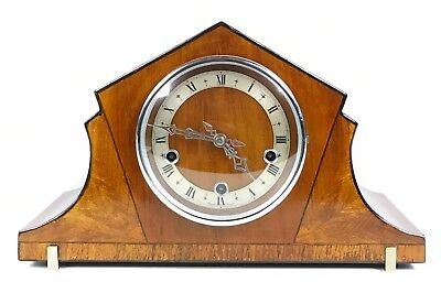 Art Deco Walnut Quarter Chiming Mantle Clock