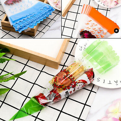 100PCS Cellophane Cone Cello Sweet Candy Flower Biscuits Snack Bags Party Supply