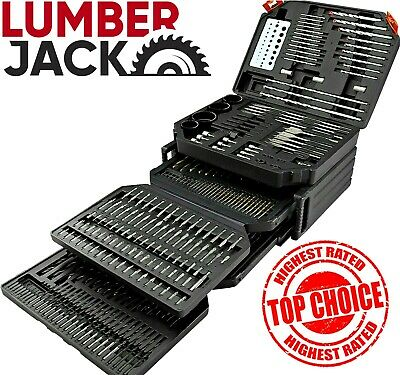 New Lumberjack 300 Piece Drill & Bit Set Titanium HSS Metal Wood in Bits Case