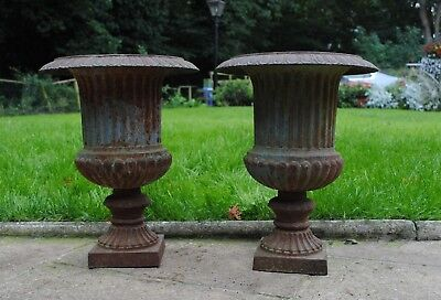 A Pair Of Antique Victorian Cast Iron Garden Urns