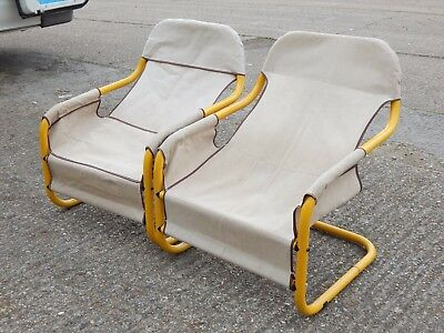 2x tubular framed canvas seated cantilever relaxer chairs in retro modern design