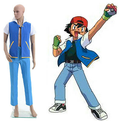 UK Pokemon Go Ash Ketchum Shirt Jacket Trainer Cosplay Costume Gloves Clothing