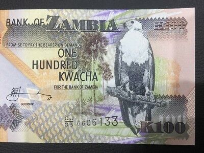 Bank Of Zambia One Hundred Kwacha Bank Note Unc/aunc