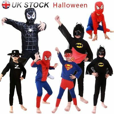 UK Boys' Fancy Dress Halloween Superhero Spider-Man Batman Costume Cosplay Party