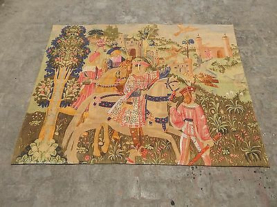 Belgian Beautiful Medieval Departure for the Hunt Tapestry 184x138cm (A1286)