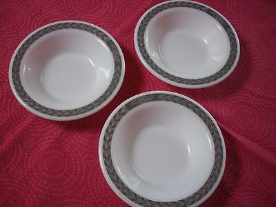 3 Vintage Pyrex White Milk Glass Bowl Dishes with Green Leaf Border - Good Cond