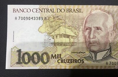 Banco Central Do Brasil 1000 Mil Cruzeiros  Bank Note Unc/aunc