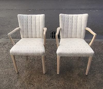 Pair Of Art Deco Armchairs With Limed Oak Frames   Delivery Available