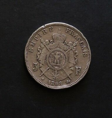 1868 French 5 Franc Large Silver Coin.
