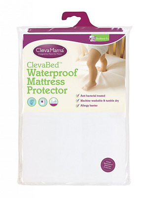 Clevamama Waterproof Mattress Protector Crib 90 x 40 cm Fitted Brushed Cotton