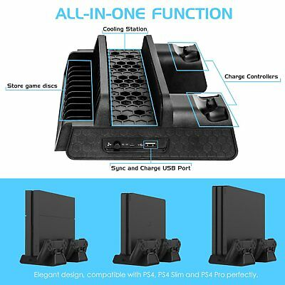 PS4 / PS4 Slim / PS4 Pro Cooling Stand, Quick Cooling Fans, Dual Charging Ports