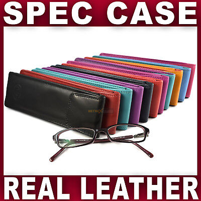 Real LEATHER SLIM GLASSES CASE spec reading sun sleeve pouch Gents Ladies Women