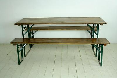 Vintage Industrial German Beer Table Bench Set Garden Customised Width & Length