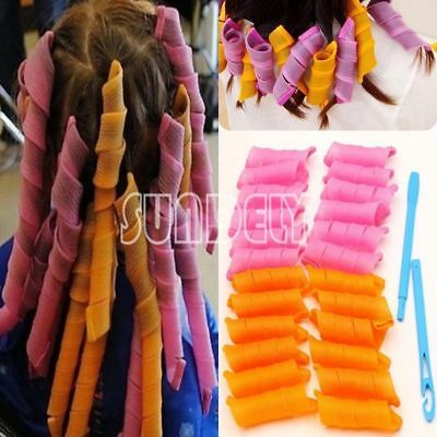 24PCS 30CM Curl DIY Hair Curlers Tool Styling Rollers Spiral Circle Magic Roller