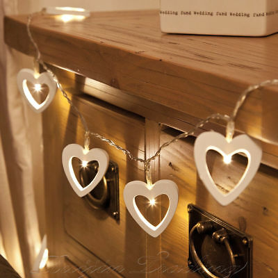 Warm White 10 LED String Fairy Lights Xmas Christmas Party Lamp Wooden Heart