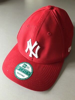 New Era 9Forty Red Adjustable Yankee NY New York Strapback Baseball Cap Hat