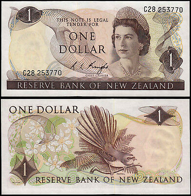 NEW ZEALAND 1 DOLLAR  KNIGHT (P163c) QEII UNC