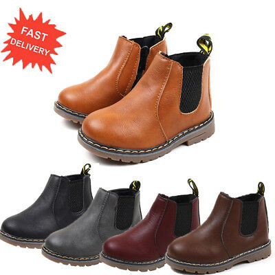 Children Kids Martin Sneaker Ankle Boots Snow Baby Shoes Boy Girl Leather Boots