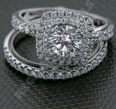 Vintage Antique Style Wedding 2pcs Bridal Ring Set in 14K White Gold Fn All Size