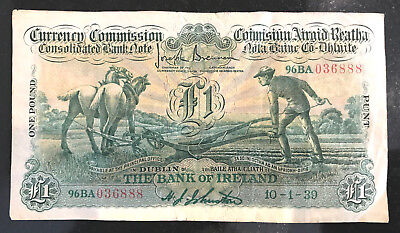 Ploughman £1 note,  one Pound Bank of Ireland 1939 currency.