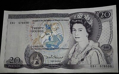 Vintage £20 English banknote william shakespeare serial number E51 578596