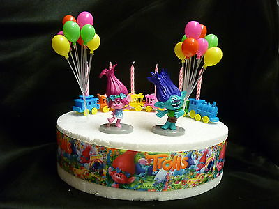 Cake Topper Figure Decoration Birthday - Trolls POPPY & BRANCH - Decoration Set
