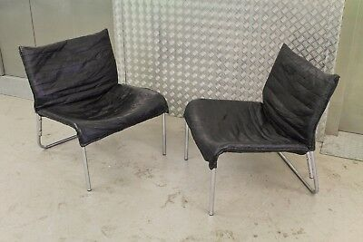 PAIR OF CHROME LEATHER LOUNGE SLIPPER CHAIRS RETRO 60s 70s VINTAGE DANISH ERA