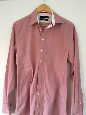 Calibre Men's Business Shirt Size M Slim Red Check Long Sleeve Button M03