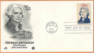 """US 1986 V.F. FDC The Postal Commemorative Society """" 3rd Presidend of the US """""""