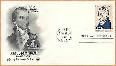 """US 1986 V.F. FDC The Postal Commemorative Society """" 5th Presidend of the US """""""