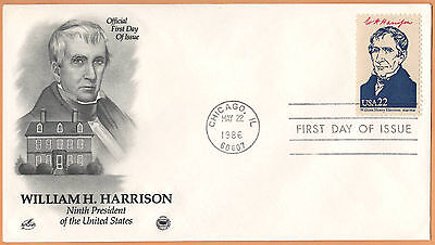 """US 1986 V.F. FDC The Postal Commemorative Society """" 9th Presidend of the US """""""