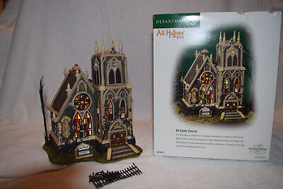 Dept 56 All Hallows Eve All Saints Church DICKENS' Village Lighted w/Box